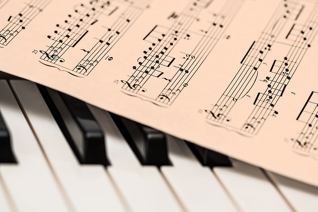 Image of music and keyboard